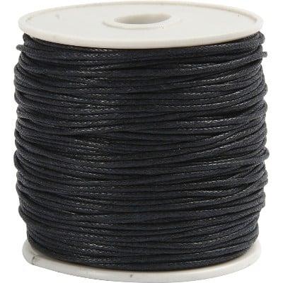 svart vaxad snodd 1 mm